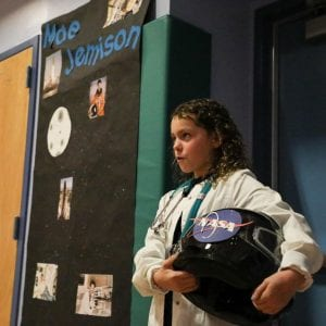 A Crawford ES student discusses engineer, physician and NASA astronaut Mae Jemison.