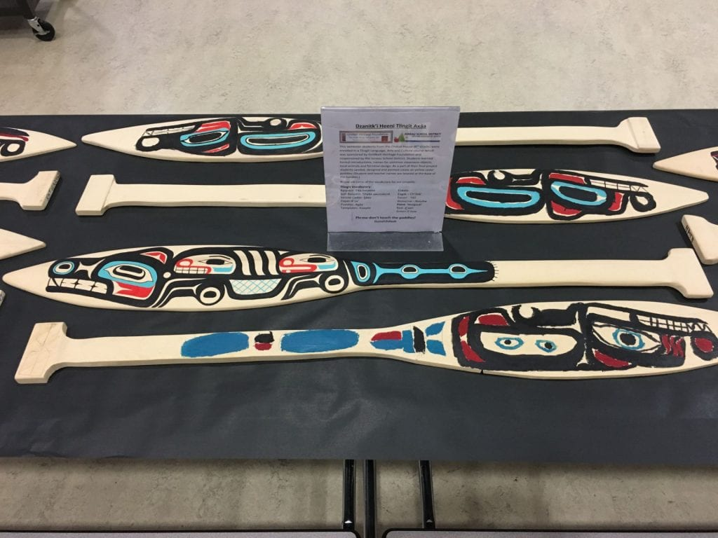 Carved and painted Tlingit paddles made at the Dzantik'i Heeni Middle School's makerspace.